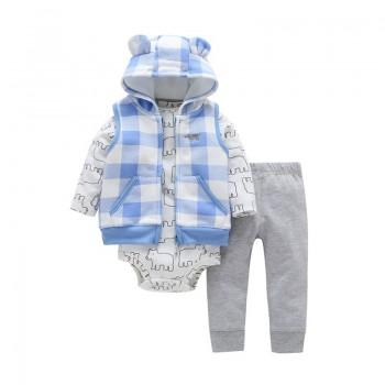 Baby Boy's Cute Bear Long Sleeve Bodysuit, Plaid Vest and Pants Set in Blue