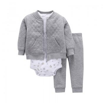 Baby Boy's 3-piece Allover Print Long Sleeve Bodysuit, Bomber Jacket and Pants Set in Grey