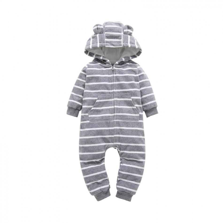 77f70bd8eff5 Baby Adorable Stripes Hooded Polar Fleece Jumpsuit for Babies at ...