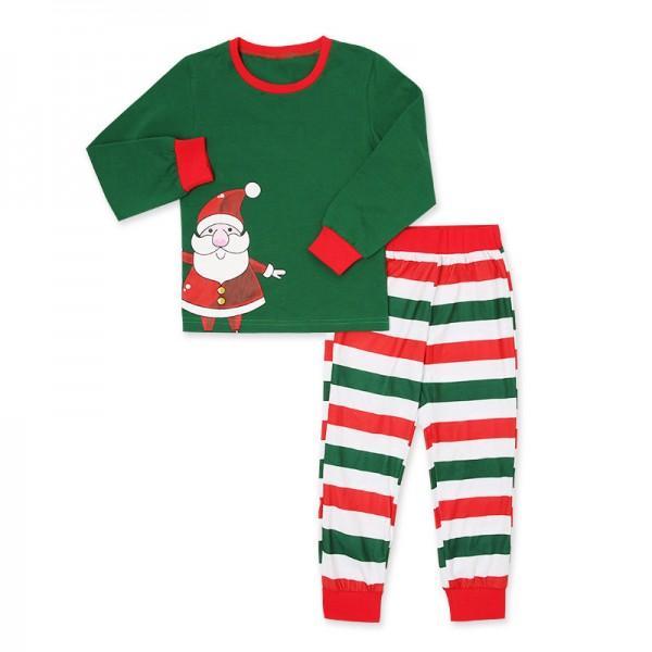 merry christmas to all green striped family pajamas