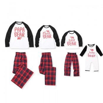 2-piece Bear Print Family Matching Contrast T-shirt and Plaid Pants Set