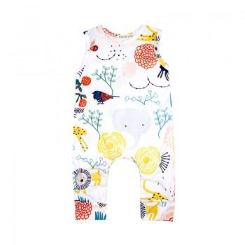 Colorful Cartoon Print Sleeveless Jumpsuit for Baby