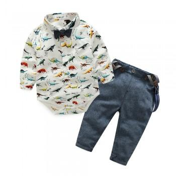 2-piece Dino Pattern Bodysuit and Strap Pants Set for Baby Boy
