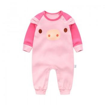 Cute Piggy Pattern Cotton One-piece in Pink for Babies