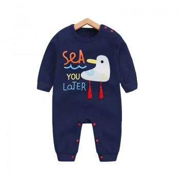 Lovely Seagulls Pattern Cotton One-piece in Dark Blue for Babies
