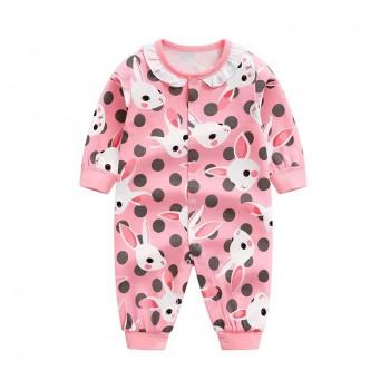 Lovely Rabbit Pattern Cotton One-piece in Blue for Babies