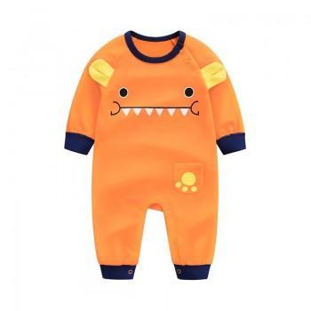 Lovely Little Monster Long Sleeve Jumpsuit in Orange for Baby and Newborn