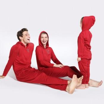 Cheerful Deer Printed Family Matching All-in-one Pajamas in Red