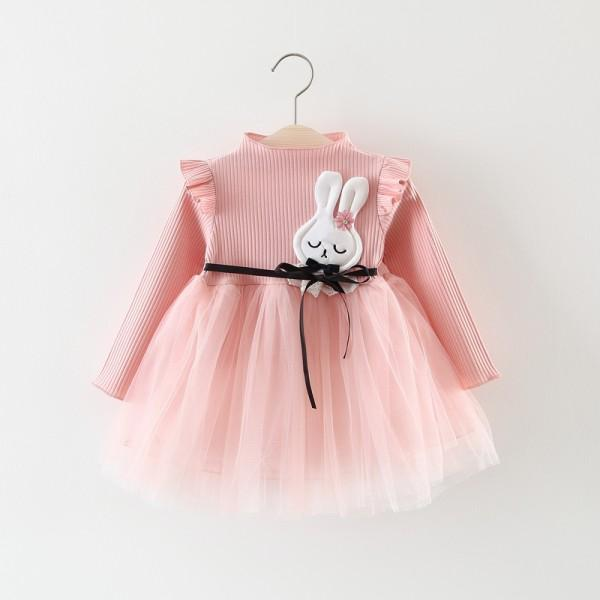 Charming Appliqued Rabbit Tulle Belted Dress for Baby Girl