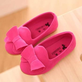 Elegant Solid Bowknot Princess Shoes for Girls