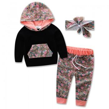 3-piece Floral Hoodie, Pants and Headband Set for Baby Girls