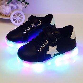 Cool LED Lace-up Velcro Shoes for Toddler/Kid