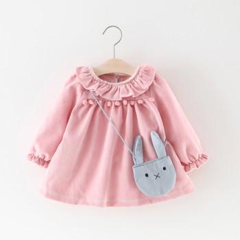 Cute Flounced Pompon Soft Lining Long-sleeve Dress for Baby Girl