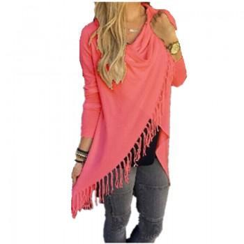 Women Solid Tassel Crossover Heap Collar Long Sleeve T-shirt