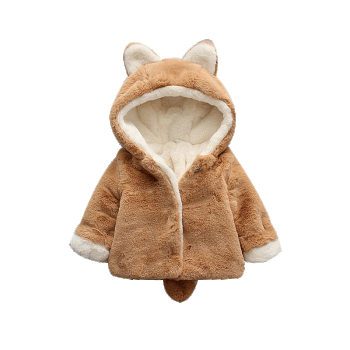 Adorable Bear Design Hooded Fleece Coat for Baby