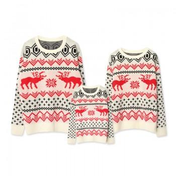 Christmas Reindeer-Pattern Family Sweaters