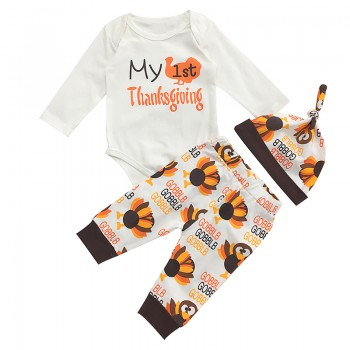 "3-piece ""My 1st Thanksgiving "" Print Bodysuit, Pants anda Hat Set for Baby"