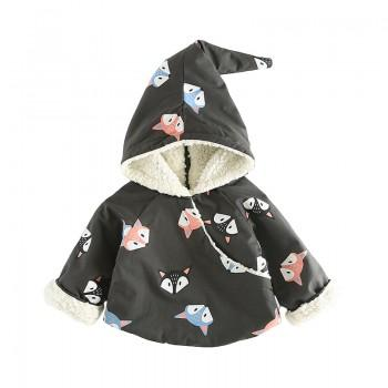 Cuddly Fox Print Hooded Coat for Baby