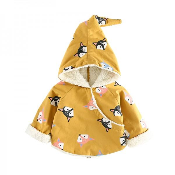 Adorable Fox Pattern Hooded Coat in Yellow for Baby