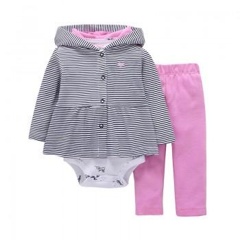 Lovely Strip Patterned Jackeet, Romper and Pants Set for Girls