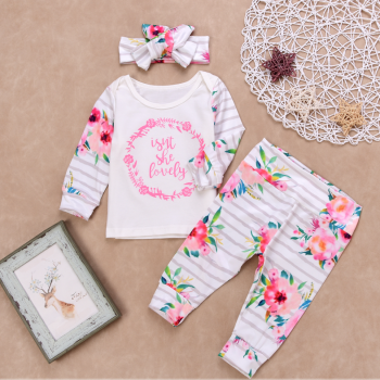 3-piece Floral Long-sleeve Top, Pants and Headband Set for Baby Girl