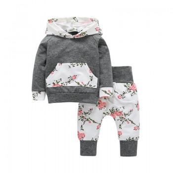 Baby Girl's Lovely 2-piece Long Sleeve Hooded Top and Floral Leggings Set in Grey