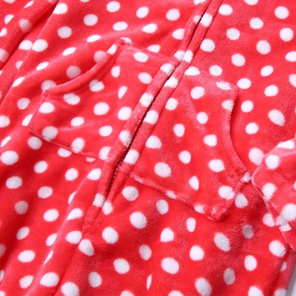 Plush Family Hooded Jammies with Red and White Polka Dots