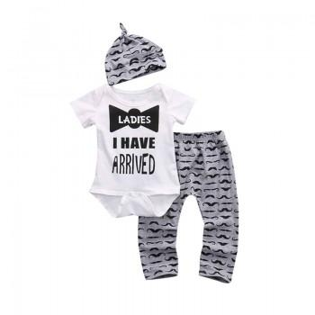 3-piece Adorable Printed Short Sleeve Bodysuit, Pants and Hat Set for Baby