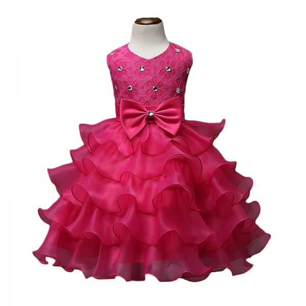 Bow-Accent Floral A-Line Princess Dress Hot Pink Wedding Dress for Girls