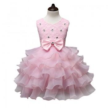 Bow-Accent Floral A-Line Princess Dress Pink Wedding Dress for Girls
