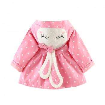 Beautiful Rabbit Pattern Polka Dot Hooded with Buttons Closure Coat for Baby and Toddler Girl