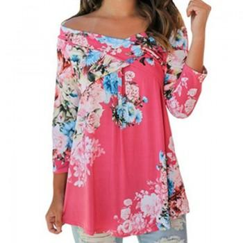 Women Pretty Floral Off-shoulder Long Sleeve Tee