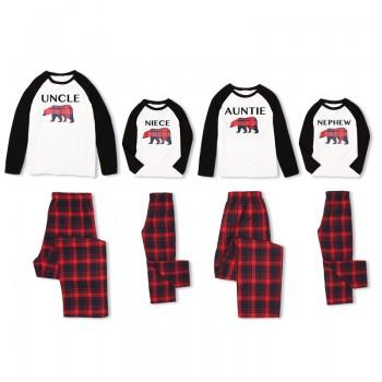 Loving Family Bear Print Plaid Pajamas for Uncle Auntie Niece and Nephew