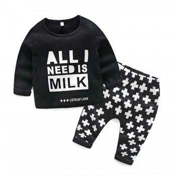 Baby Boy's Letter Printed Long Sleeve Top and Pants Set in Black