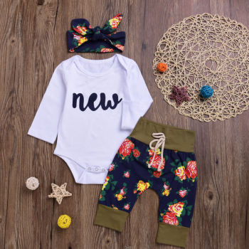 Fashionable 3-pieces Romper, Pants and Head Band Set for Girls