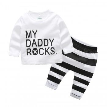 Fun MY DADDY ROCKS T-shirt and Pants Set for Baby