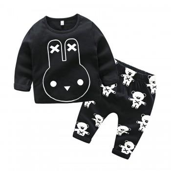 Fun Rabbit Print T-shirt and Pants Set for Baby