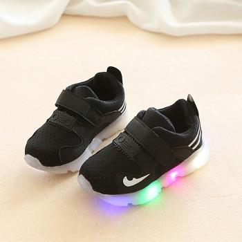 Cool LED Velcro Striped Shoes for Toddler and Kid