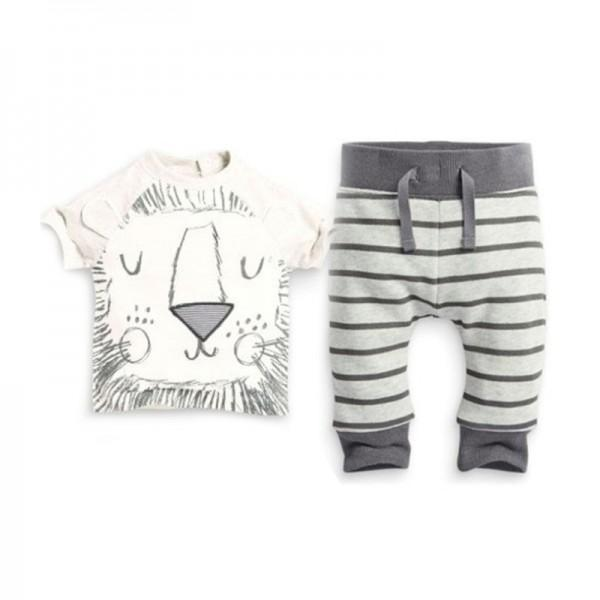 Baby Boy's Cute Little Lion Short-sleeve Tee and Stripes Pants Set