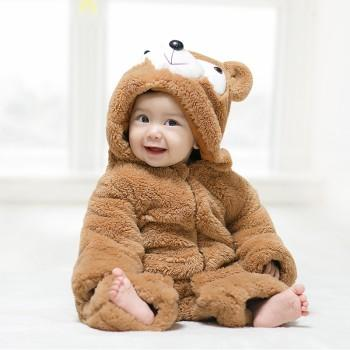 Adorable Baby Bear Hooded Jumpsuit in Brown for Baby
