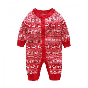 Festive Snowflake and Reindeer Pattern Knit Jumpsuit for Baby