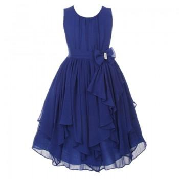 Beautiful Bowknot Sleeveless Tulle Pleated Dress for Girls