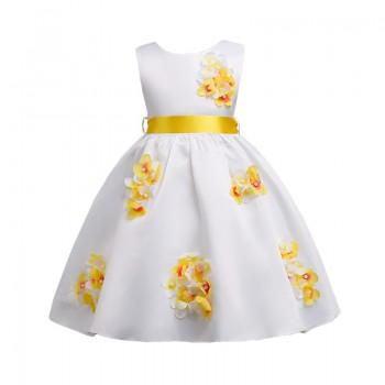 Exquisite Floral Pattern Sleeveless Dress for Girls