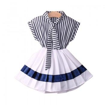 Gril's Navy Style Blue Stripes Pleated Dress