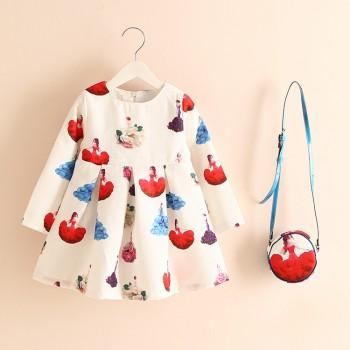 Dreamy Princess Print Long-sleeve Dress and Bag Set for Baby Girl
