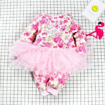 Sweet Little Angel Embroidery Long-sleeve Tulle Skirt Jumpsuit for Baby Girls