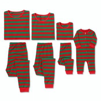 Warm and Festive Red and Green Striped Family Christmas Pajamas
