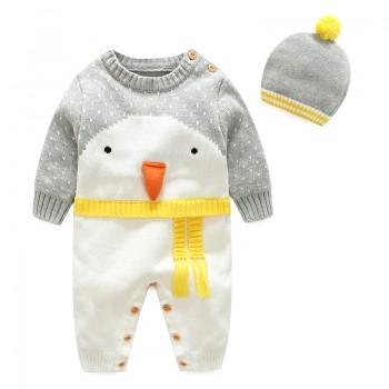 Cute Penguin Faux-two Jumpsuit with a Lovely Hat for Baby