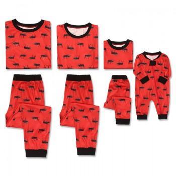 festive elk printed family matching pajamas