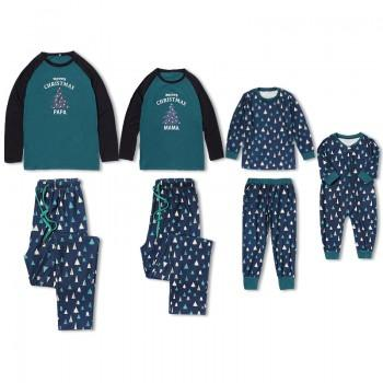 Christmas Tree Printed Family Matching Contrast T-shirt and Plaid Pants Set